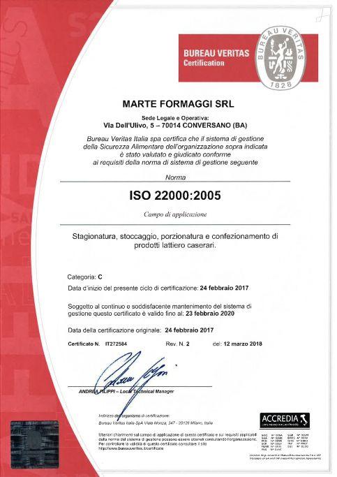 Certificato di qualità ISO22000